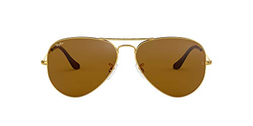 Ray-Ban Unisex-Adult RB3025 Classic Sunglasses, Gold/Brown, 58 mm