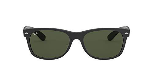 Ray-Ban Unisex-Adult RB2132 New Wayfarer Sunglasses, Rubber Black on Black/Green, 55 mm