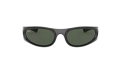Ray-Ban RB4332 Rectangular Sunglasses, Black/Green, 57 mm