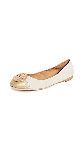 Tory Burch Women's Minnie Cap Toe Ballet Flats, Dulce De Leched/Gold, 8 Medium US