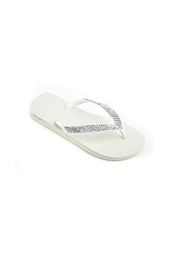 Lori Jack Swarovski Crystal Flip Flops (41/42, White/AB Crystals)