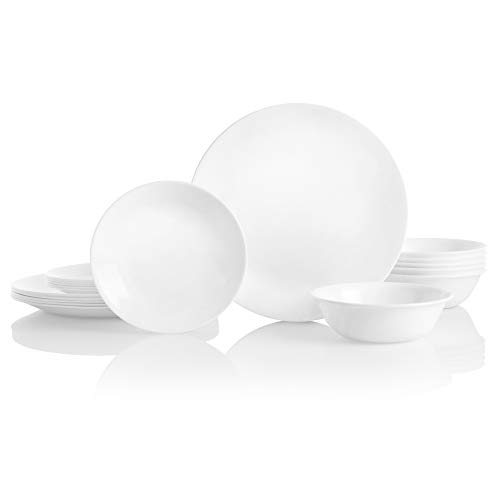 Corelle Service for 6, Chip Resistant, Winter Frost White Dinnerware Set, 18-Piece