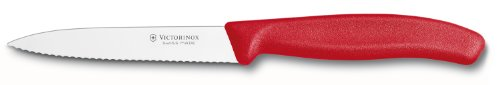 Victorinox 6.7731US1 4 Inch Swiss Classic Paring Knife with Serrated Edge, Spear Point, Red, 4'