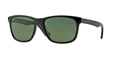 Ray-Ban RB4181 601 57M Shiny Black/Green Sunglasses For Men For Women