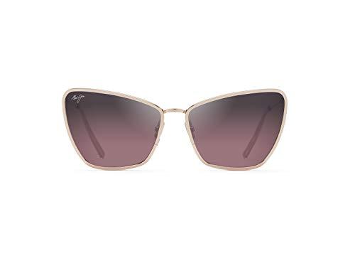 Maui Jim Women's Puakenikeni w/ Patented PolarizedPlus2 Lenses Polarized Cat Eye Sunglasses, Shiny Rose Gold/Maui Rose Polarized, Medium