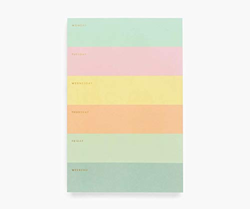 Rifle Paper Co. Weekly Color Block Large Memo Notepad, 65 Tear-Off Pages, Featuring Bands of Pastel Hues Separating the Days, Printed in Full Color and Foil Stamped