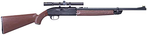 Crosman 2100 Classic Single-Shot Bolt Action Variable Pump .177-Caliber Pellet And BB Air Rifle 2100X With 4 x 15mm Scope, Brown/Black