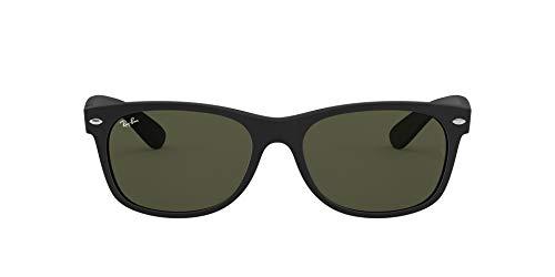 Ray-Ban RB2132 New Wayfarer Sunglasses, Rubber Black/Green, 52 mm