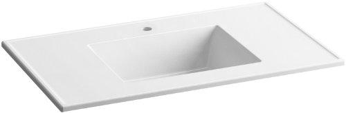 KOHLER K-2781-1-G81 Ceramic/Impressions 37-Inch Rectangular Vanity-Top Bathroom Sink with Single Faucet Hole, White Impressions