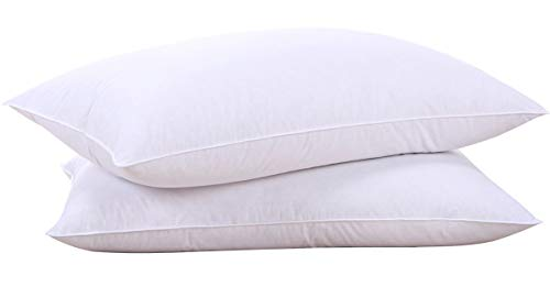 puredown Goose Down Feather White Pillow Inserts, 100% Egyptian Cotton Fabric Cover Bed Pillows, Set of 2 King Size