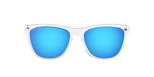 Oakley unisex adult Oo9013 Frogskins Sunglasses, Crystal Clear/Prizm Sapphire, 55 mm US