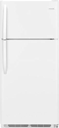 FFHT1821TW 30 Top Freezer Refrigerator with 18 cu. ft. Total Capacity 2 Full Width Glass SpaceWise Refrigerator Shelves 1 Full Width Wire Freezer Shelf and Reversible Door in White