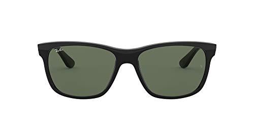 Ray-Ban Unisex-Adult RB4181 Sunglasses, Shiny Black/Crystal Green, 57 mm