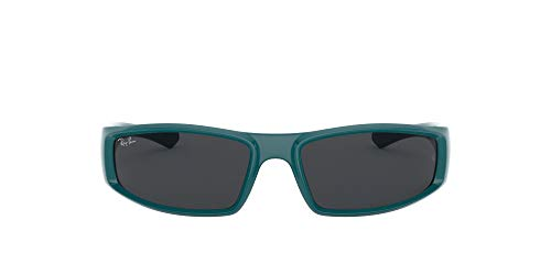 Ray-Ban Unisex-Adult RB4335 Sunglasses, Turquoise/Dark Grey, 58 mm