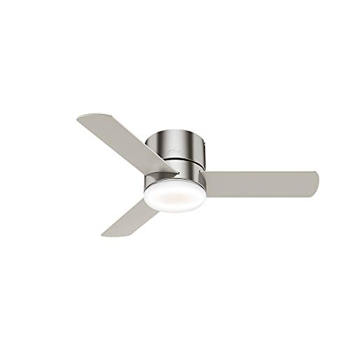 Hunter Fan Company Hunter 59454 Transitional 44``Ceiling Fan from Minimus collection in Pwt, Nckl, B/S, Slvr. finish, Brushed Nickel