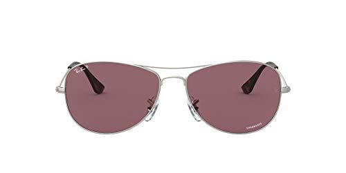 Ray-Ban RB3562 Chromance Mirrored Aviator Sunglasses, Matte Silver/Purple Polarized, 59 mm