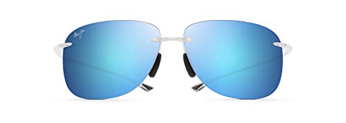 Maui Jim Hikina w/ Patented PolarizedPlus2 Lenses Polarized Rimless Sunglasses, Crystal Matte/Blue Hawaii Polarized, Large
