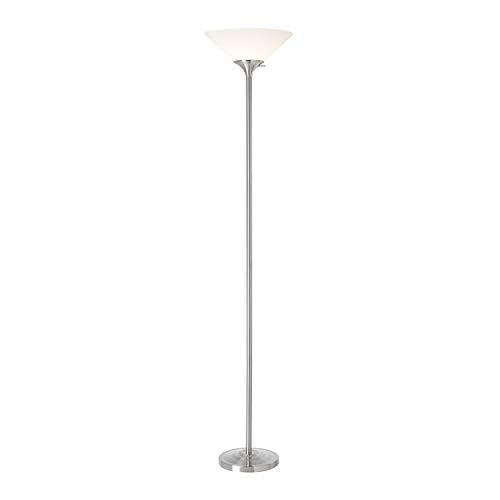 Normande Lighting 150-Watt Incandescent Concord Torchiere Lamp, Brushed Steel