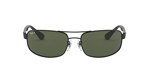 Ray-Ban Men's RB3445 Metal Sunglasses, Black/Polarized Green, 61 mm