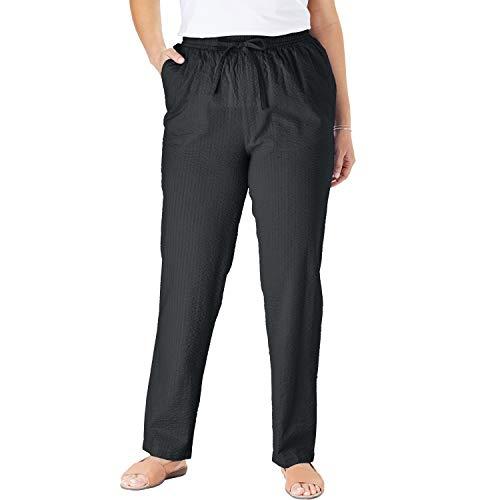 Woman Within Women's Plus Size Seersucker Pant - 20 W, Black
