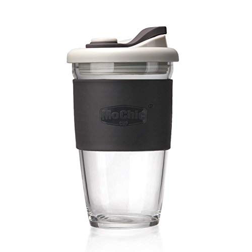MOCHIC CUP Reusable Coffee Cup Glass Travel Mug with Lid and Non-slip Sleeve Dishwasher and Microwave Safe Portable Durable Drinking Tumbler BPA Free (Charcoal Gray,16oz/454ml)
