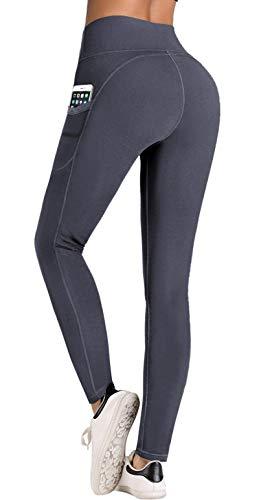 IUGA High Waist Yoga Pants with Pockets, Tummy Control, Workout Pants for Women 4 Way Stretch Yoga Leggings with Pockets (Gray IU7840, Medium)