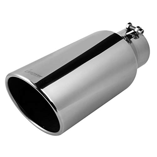 Upower Universal Diesel Trucks Car Exhaust Tip 4 Inch Inlet 6' Outlet 15' Long Stainless Steel Bolt-On