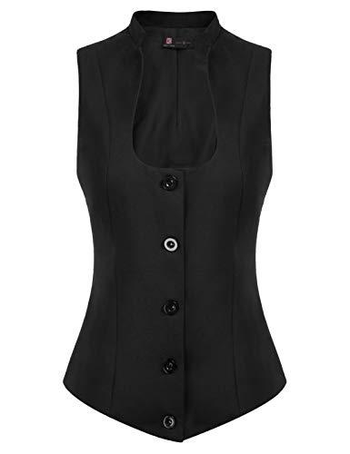 Women's Business Dressy Suit Vest Waistcoat Slim Fit Economy Halter Backless Tuxedo Suits(L, Black 78)