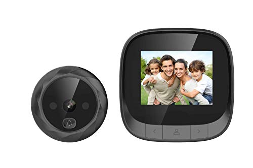 digitharbor Video Door Scope Viewer Build-in 600mAh Lithium Battery+cyclic Storage Digital Peephole viewer Door Camera Door Open Chime 2.4 inches Color 320x420p LCD Screen 0.3MP 90degrees View