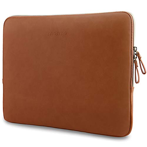 MOSISO Laptop Sleeve Bag Compatible with 13-13.3 inch MacBook Air, MacBook Pro Retina, 2019 2018 Surface Laptop, Notebook Computer, PU Leather Padded Bag Waterproof Case, Brown
