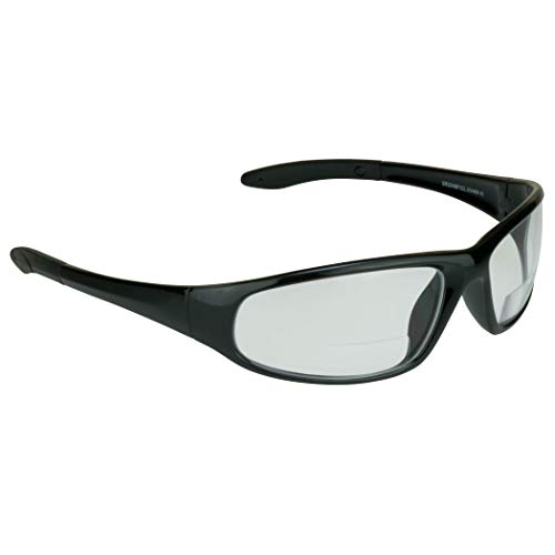 proSPORT Bifocal Safety Protective Glasses +2.00 Black Frame Clear Lens Z87 for Men and Women