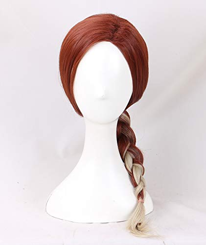 21.6' Women's Long Curly Red and Light Blonde Cosplay Wig Halloween Costume Wig 55cm (Braid)