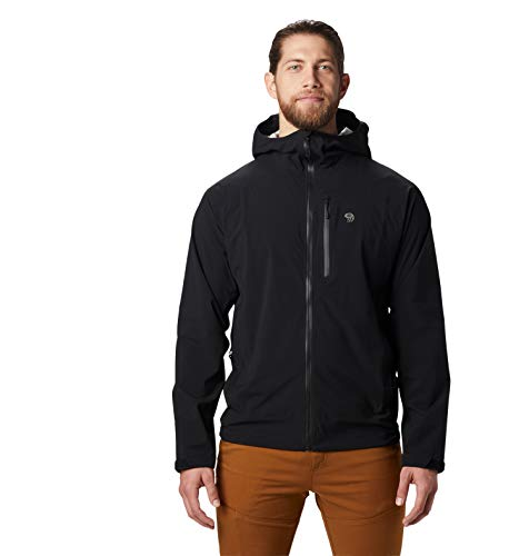 Mountain Hardwear Men's Stretch Ozonic Jacket Waterproof Breathable for Hiking, Backpacking, and Everyday - Black - Small