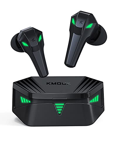 Gaming Earbuds, KMOUK Bluetooth 5.0 True Wireless Earbuds, USB-C Quick Charge, Cool Light Effects with Music & Game Modes, 48ms Ultra Low-Latency Gaming Earphones