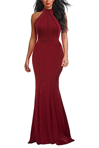 Berydress Women's Vintage Chic Sleeveless Fishtail Maxi Gown Halter Cocktail Party Long Formal Dress (L, 6075-Burgundy)