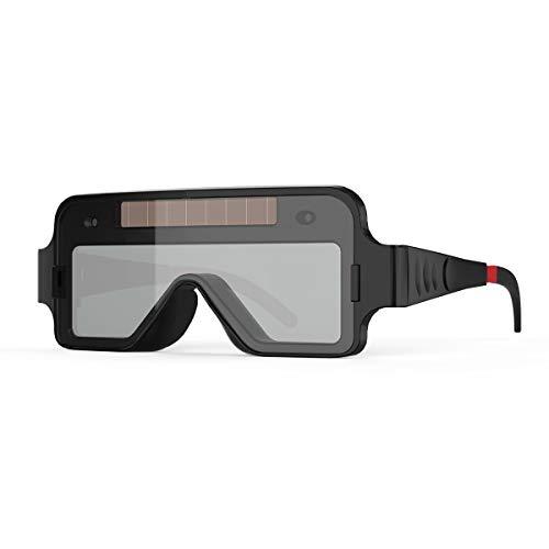 YESWELDER True Color Solar Powered Auto Darkening Welding Goggles, 2 Sensors Welder Glasses for TIG MIG MMA Plasma