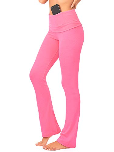 DEAR SPARKLE Bootcut Fold Over Leggings for Women | Slim Look Bootleg Yoga Pants w Pocket + Plus Size (C5 F) (Neon Pink, 2X-Large)