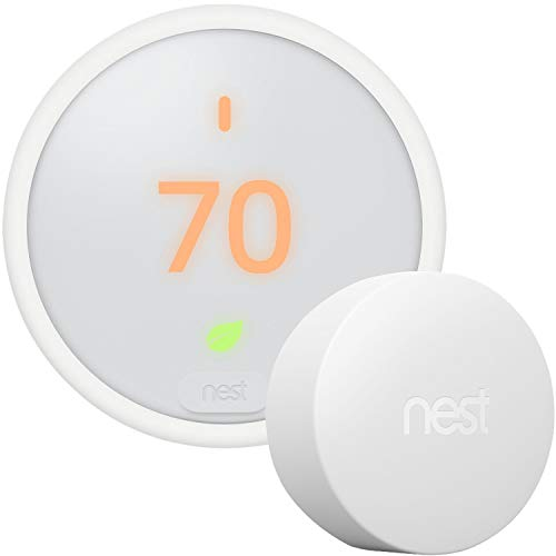 Google Nest Thermostat E - Programmable Smart Thermostat for Home T4000ES - 3rd Generation Nest Thermostat (Frosted White)- Compatible with Alexa