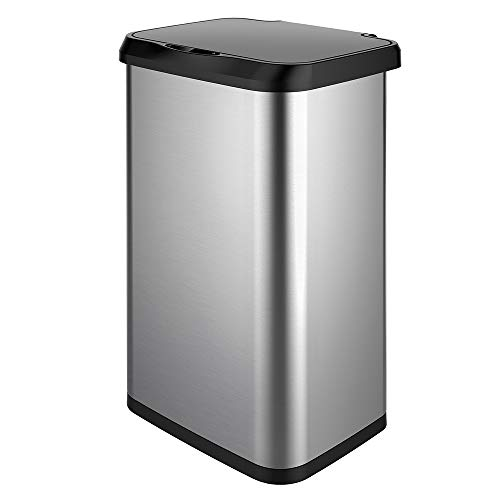 Glad Stainless Steel Sensor Trash Can with Clorox Odor Protection | Touchless Metal Kitchen Garbage Bin with Soft Close Lid and Waste Bag Roll Holder, 20 Gallon