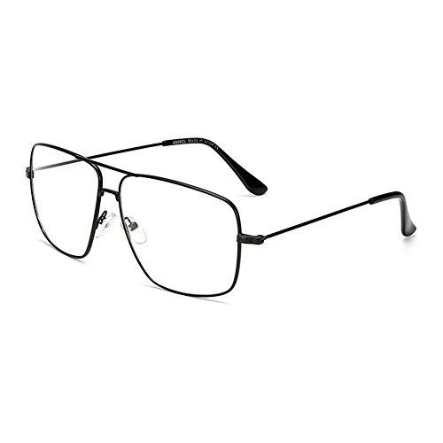 Dollger Classic Glasses Clear Lens Non Prescription Metal Frame Eyewear Men Women, Black Frames+clear Lenses, Standard