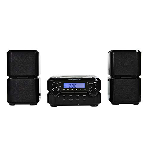 Magnavox MM435-BK 3-Piece Compact CD Shelf System with Digital AM/FM Stereo Radio, Bluetooth Wireless Technology, and Remote Control in Black | LCD Display | AUX Port Compatible |