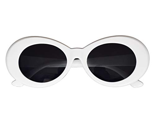 JUSLINK Bold Retro Oval Mod Thick Frame Sunglasses Round Lens Clout Oval Goggles White