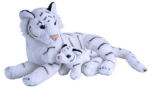 Wild Republic Mom & Baby White Tiger Plush, Stuffed Animal, Plush Toy, Gifts for Kids, Zoo Animals, 11'