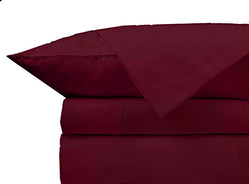 Queen Bed Sheets Set 100% Cotton Egyptian 800 TC - Extra Long - Staple Cotton Queen Sheet For Bed, Fits Mattress Upto 17'' Deep Pocket, Breathable & Sateen Weave 4-Piece Sheets Set(Queen, Burgundy)