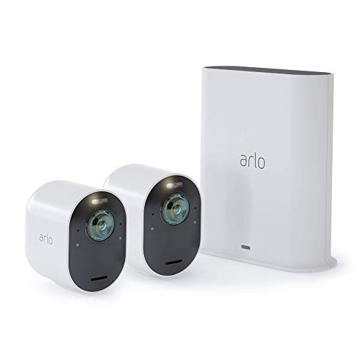 Arlo Ultra - 4K UHD Wire-Free Security 2 Camera System   Indoor/Outdoor with Color Night Vision, 180° View, 2-Way Audio, Spotlight, Siren   Compatible with Alexa and HomeKit   (VMS5240) (Renewed)