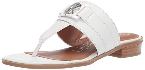 Calvin Klein Women's Farley Flat Sandal, White Soft Nappa Leather, 7 M M US