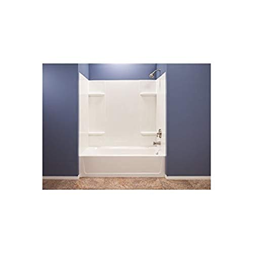 El Mustee 53WHT Durawall Thermoplastic Bathtub Wall Kit, 5 Pieces, 4 Shelves, White, 30 x 60'