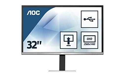 AOC Q3277PQU 32 INCH Monitor QHD 2560 x 1440 VGA DVI HDMI Displayport HA & Pivot & speakers