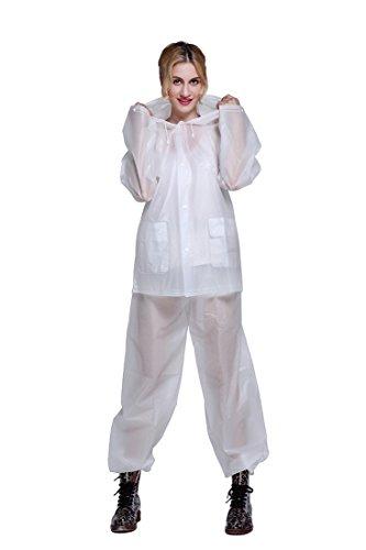 Aircee Rain Suits for Men Women, Reusable Rain Jackets with Pants, Portable Rainwear, Durable Raincoat Set for Outdoor Use White