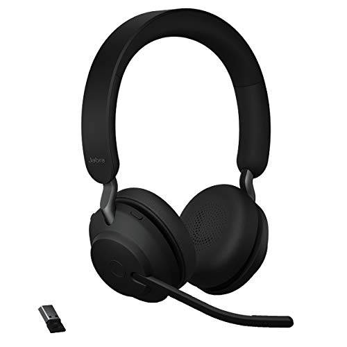 Jabra Evolve2 65 MS Wireless Headphones with Link380a, Stereo, Black – Wireless Bluetooth Headset for Calls and Music, 37 Hours of Battery Life, Passive Noise Cancelling Headphones